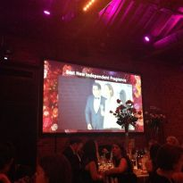 A Very Blurry Image of Yours Truly Presenting an Award