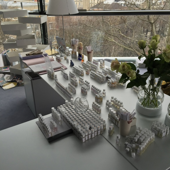 Mathilde Laurent's Desk in the Perfume Lab at the Fondation Cartier pour L'Art Contemporain (i.e. Where the Magic Happens)