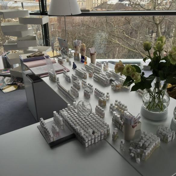 Mathilde Laurent's Desk in the Perfume Lab at the Fondation Cartier pour L'Art Contemporain (i.e. Where the Magic Happens)
